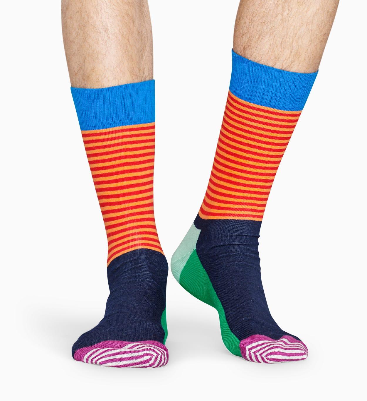 Gemusterte grüne Socken: Half Stripe   Happy Socks
