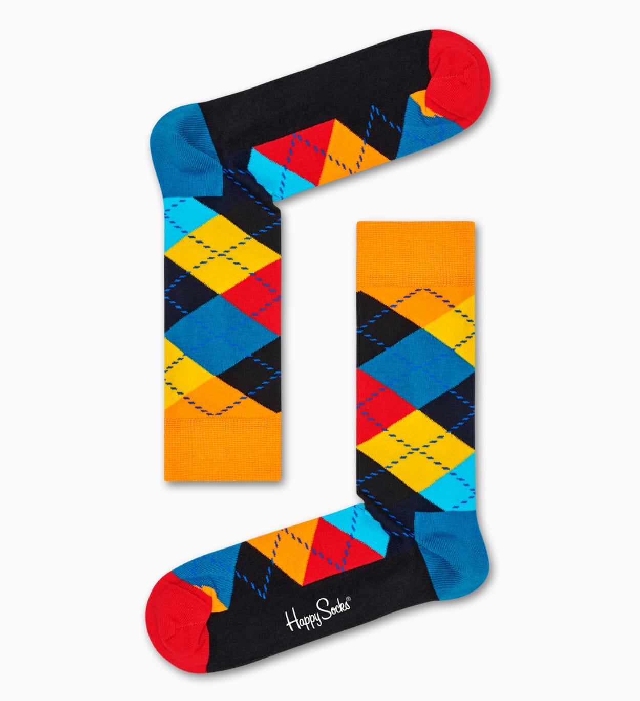 Schwarze Baumwollsocken: Argyle Muster   Happy Socks