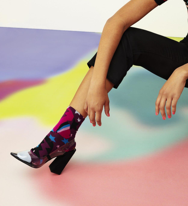 Lilafarbene Ankle Socken: Viola - Hysteria   Happy Socks