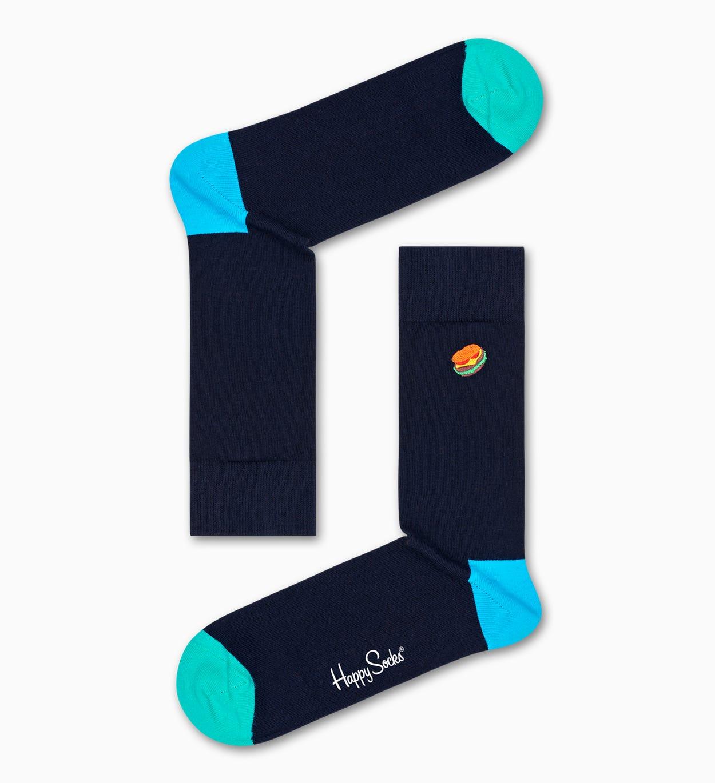 Embroidery Hamburger Socken, Schwarz   Happy Socks