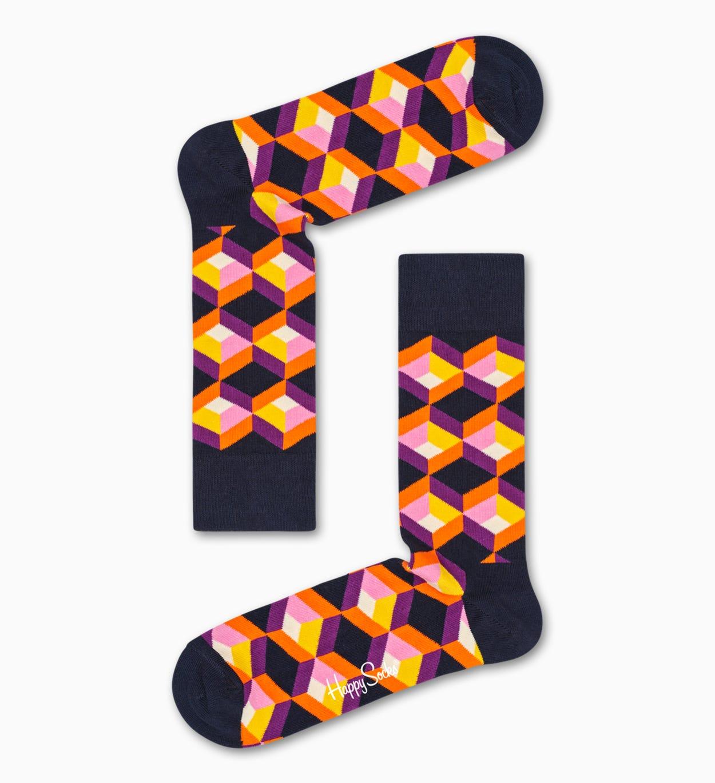 ブラックコットンソックス: Optic Square | Happy Socks