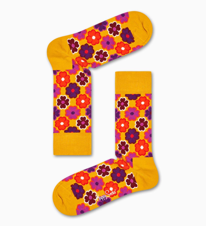 Gemusterte gelbe Socken: Flower Power | Happy Socks