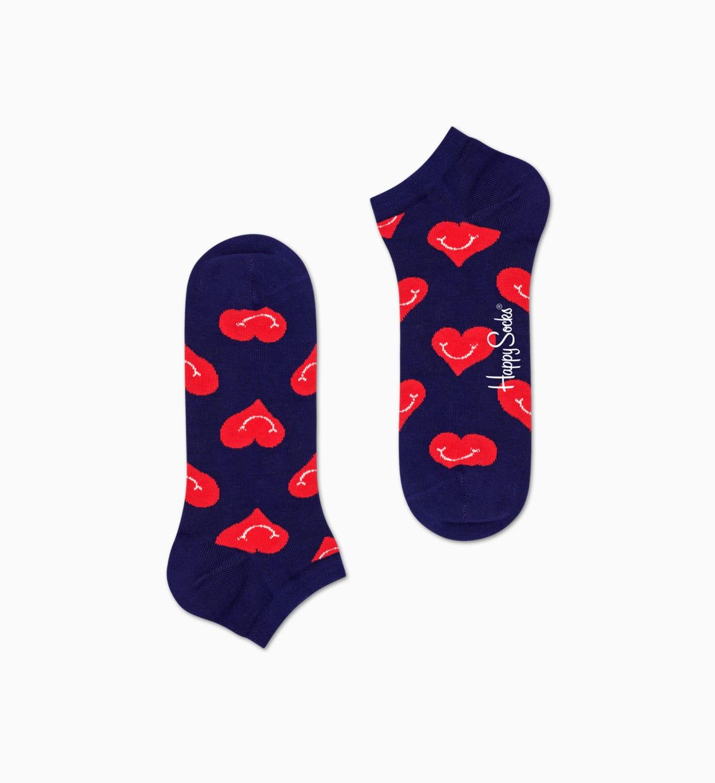 Marineblauer Sneaker-Socken: Smile Heart Muster | Happy Socks