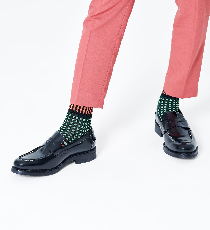 Stripes And Squares Socken, Orange - Dressed | Happy Socks