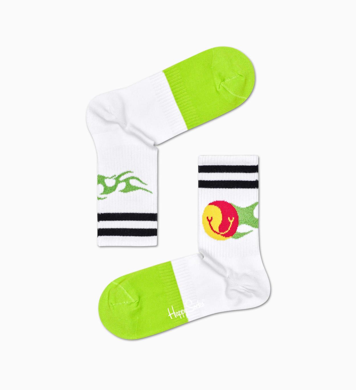 Flame 3/4 Crew Socken, Weiß - ATHLETIC   Happy Socks