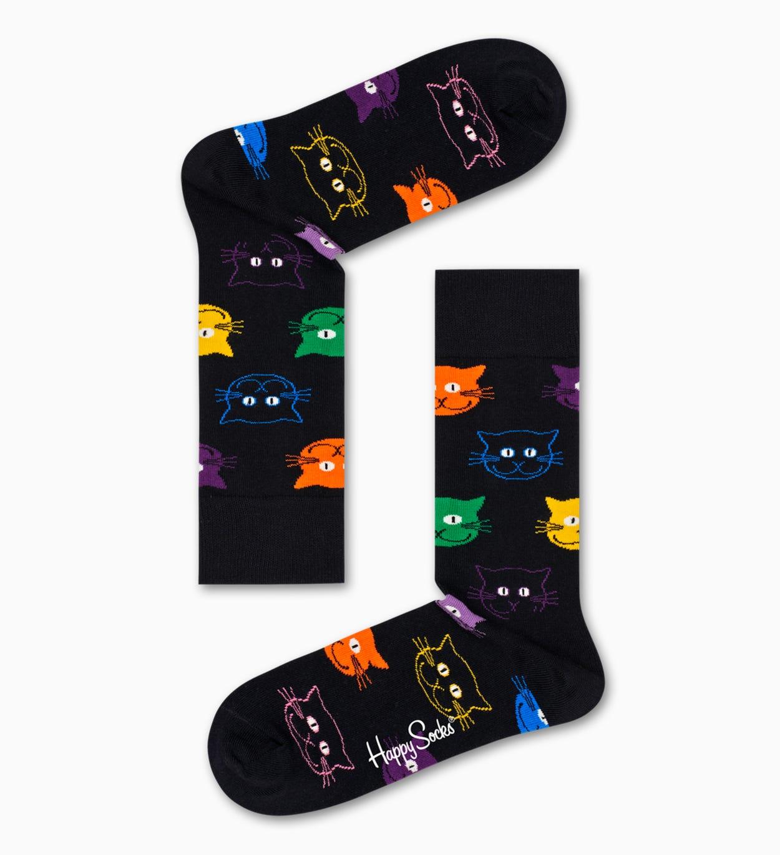 Gaveæske med kattestrømper til mænd  amp; kvinder | Happy Socks