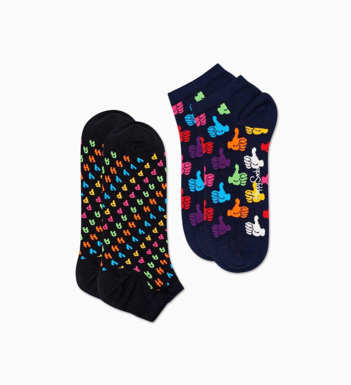 Schwarze Low Socken 2er-Pack: Happy   Happy Socks