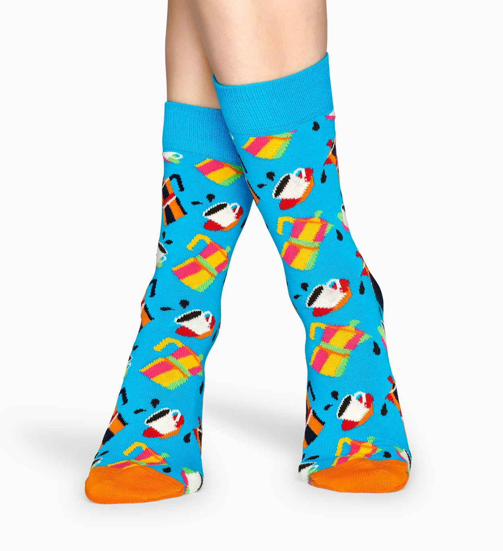 Gemusterte blaue Socken: Kaffee | Happy Socks