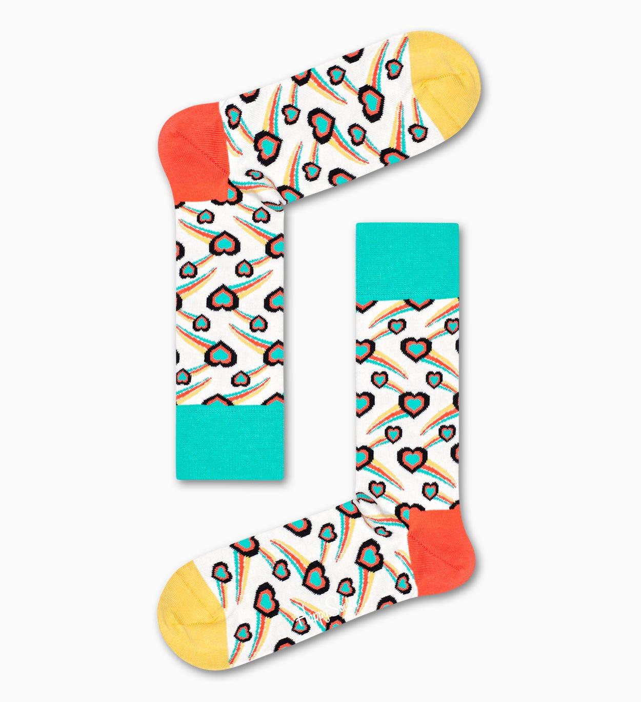 Shooting Heart Socken, Weiß   Happy Socks