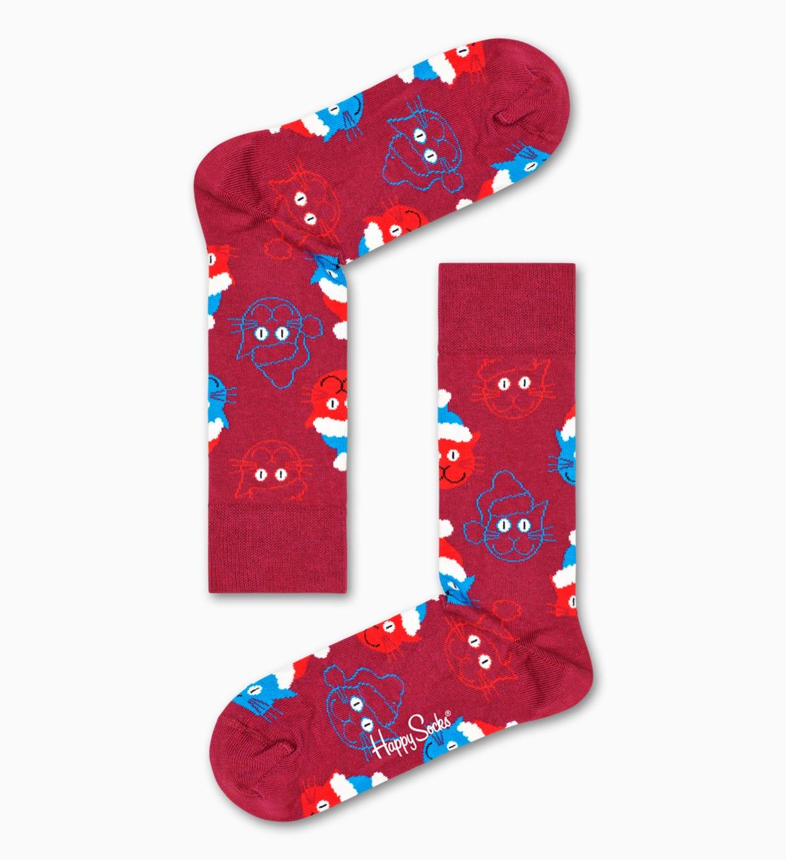 Rote Santa Cat Socken   Happy Socks