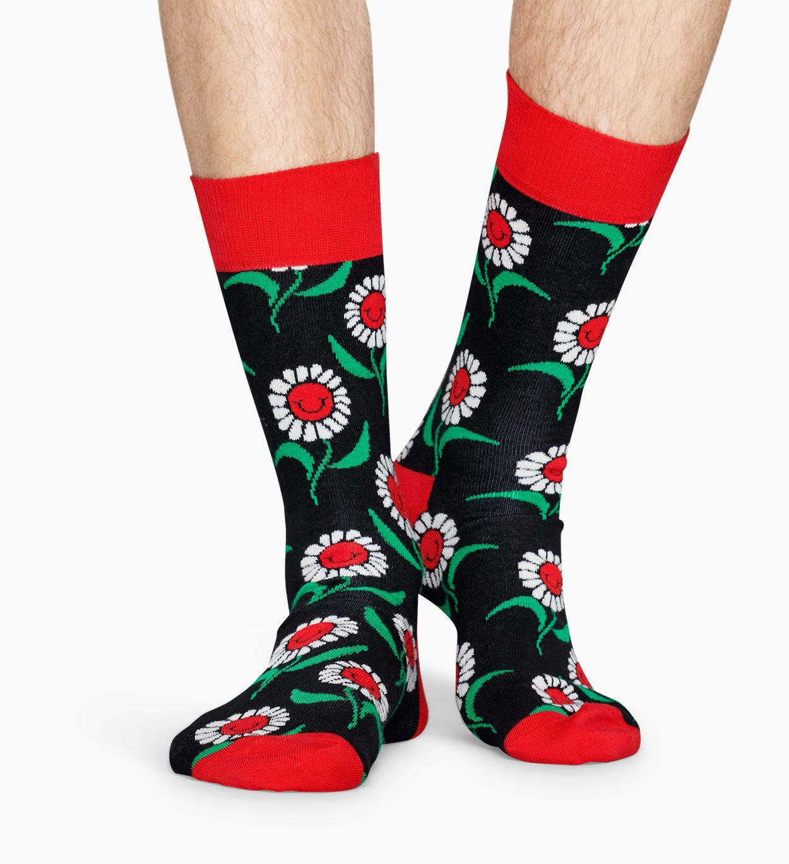 Gemusterte schwarze Socken: Sonnenblume   Happy Socks