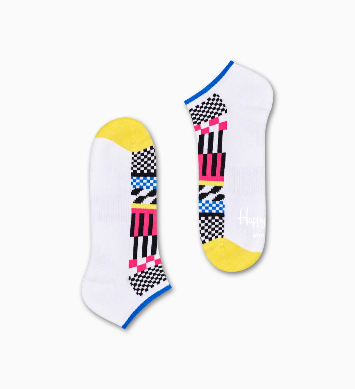 Weiße niedrige Sportsocken: Streifen - ATHLETIC   Happy Socks