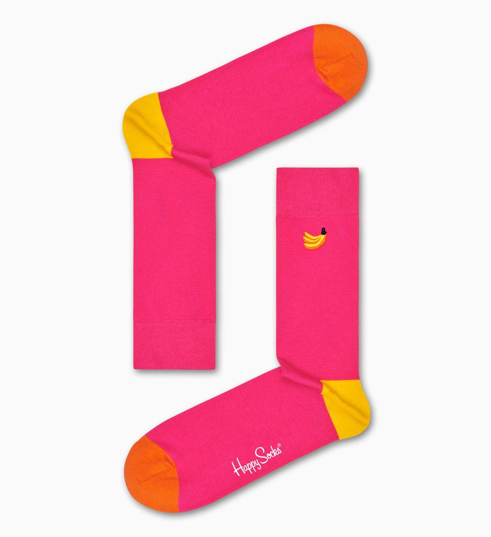 Embroidery Banana Socken, Pink   Happy Socks