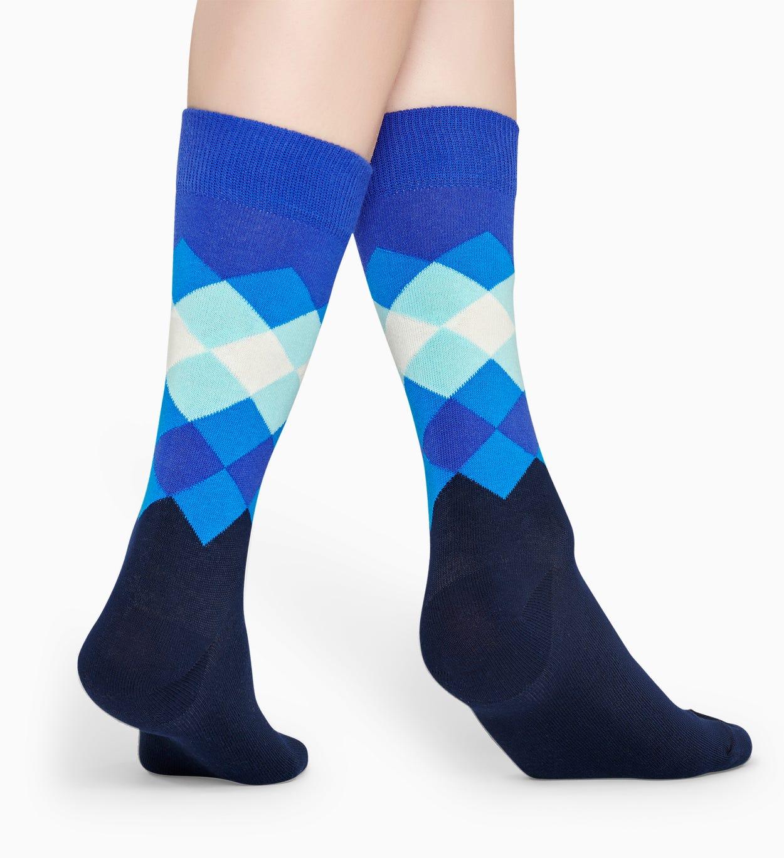 Blaue Baumwollsocken: Faded Diamond Muster | Happy Socks