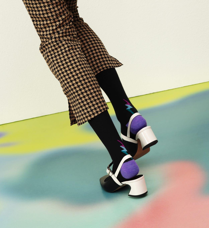 Schwarze mittelhohe Socken: Lulu - Hysteria   Happy Socks