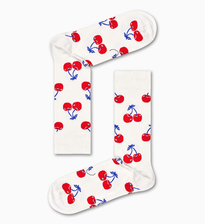 Socken mit Kirschmuster, Weiß | Happy Socks