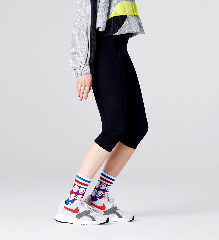 Happy Check 3/4 Crew Socken, Weiß - ATHLETIC | Happy Socks